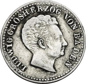 obverse: Germany.  Ludwig I Grand Duke of Baden (1818-1830).. AR 10 Kreuzer 1830