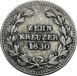 reverse: Germany.  Ludwig I Grand Duke of Baden (1818-1830).. AR 10 Kreuzer 1830