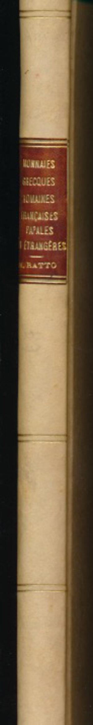 obverse: RATTO R. - Asta 6 giugno 1931 Parigi. Monete greche, romane e francesi, papali e straniere. Pp. 52 + 19 tavole. Rilegatura rigida con dorso e angoli bianchi e scritte dorate. Ottimo stato.
