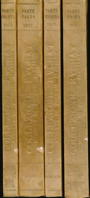 obverse: SANTAMARIA P. & P. - Aste 1921-1922-1923 Roma. Collezione Ruchat (Parte I, II, III, IV). Monete di zecche italiane. Numerose tavole in b/n. Rilegate in 4 volumi con copertina rigida. RARA. Buono stato.