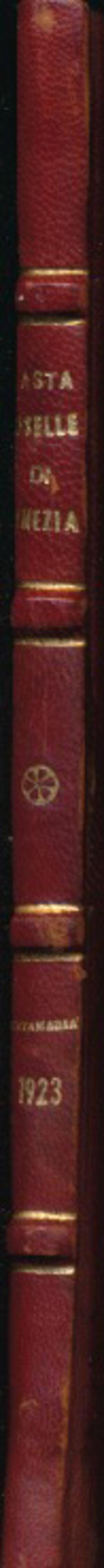 obverse: SANTAMARIA P.&P. - Asta 14 giugno 1923 Roma. Raccolta di un distinto collezionista. Oselle d oro e multipli di ducati veneziani, Pp. 23 + 9 tavole in b/n. Rilegatura rigida con dorso e angoli in pelle e piatto marmoreo. Buono stato.