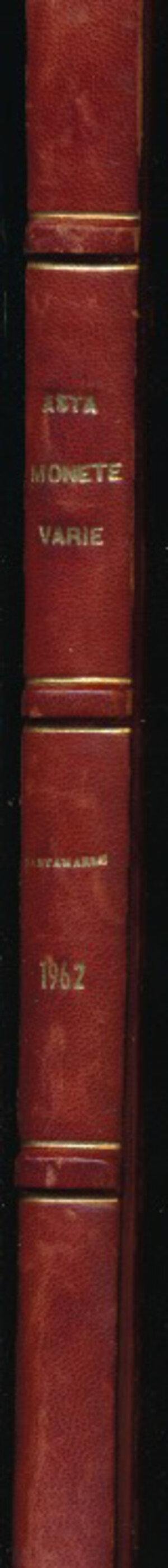 obverse: SANTAMARIA P.&P. - Asta 5 aprile 1962 Roma. Monete italiane medioevali, moderne e contemporanee. Pp. 58 + 70 tavole. Rilegatura rigida con dorso e angoli in pelle  e scritte dorate. Buono stato.