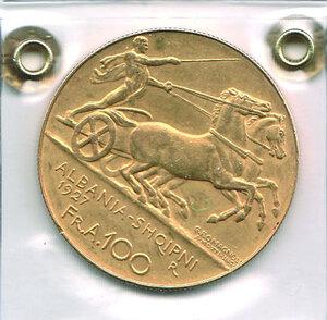 reverse: ALBANIA - Zog (1912-1939) - 100 Fr. 1927