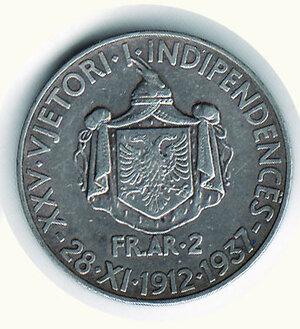 reverse: ALBANIA - Zog (1912-1939) - 2 Fr. 1937