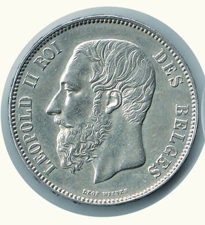 obverse: BELGIO - Leopoldo II - 5 Fr. 1873.