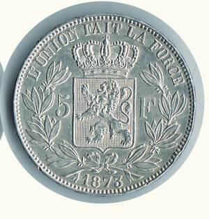 reverse: BELGIO - Leopoldo II - 5 Fr. 1873.