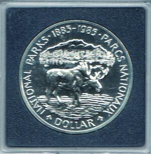 reverse: CANADA - 5 Dollari 1985 - Centenario istituzione Parchi Nazionali