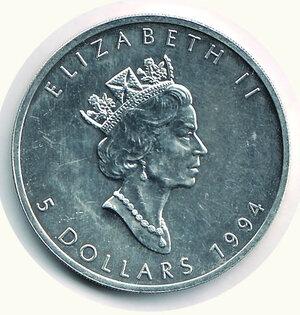 obverse: CANADA - 5 Dollari 1994 - Foglia d'acero.