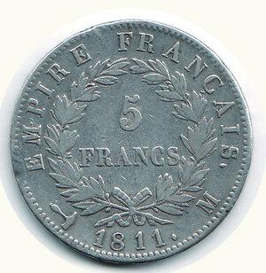 reverse: FRANCIA - Napoleone - 5 Fr. 1811 M (Toulouse).