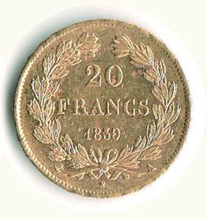 reverse: FRANCIA - Luigi Filippo - 20 Fr 1836 A.