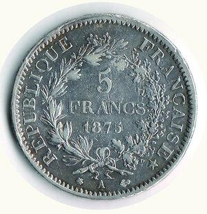 reverse: FRANCIA - 5 Fr. 1875 Parigi.