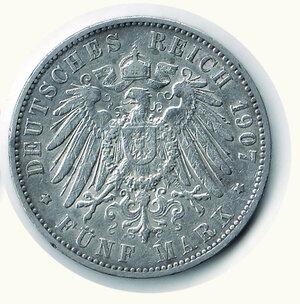 reverse: GERMANIA - Antichi Stati - Città libera di Amburgo - 5 M 1907.