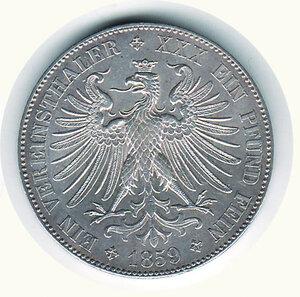 reverse: GERMANIA - Antichi Stati - Francoforte città libera - Tallero 1859.
