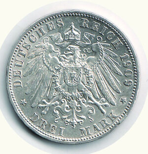 reverse: GERMANIA - Antichi Stati - Wurttemberg - 3 Marchi 1909 - KM 635.