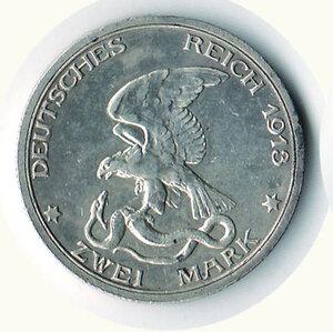 obverse: GERMANIA - Guglielmo II - 2 Marchi 1913 per il 100° della Vittoria di Dresda contro Napoleone.