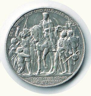 reverse: GERMANIA - Guglielmo II - 2 Marchi 1913 per il 100° della Vittoria di Dresda contro Napoleone.