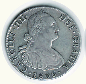 obverse: MESSICO - Carlo IV - 8 Reales 1806 - Sigla TH.