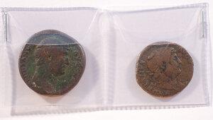 obverse: ADRIANO (117-138) - Lotto di 2 monete, Asse e Sesterzio