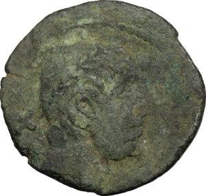 obverse: Etruria, Populonia. AE Triens of 10-Units, late 3rd century BC