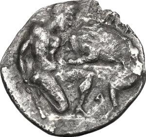 reverse: Northern Apulia, Arpi. AR Diobol, c. 325-275 BC