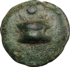 obverse: Northern Apulia, Venusia (?).  Series based on a nummus of about 336 g.. AE Cast Uncia, c. 275-225 BC