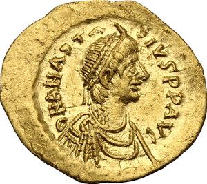 obverse: Anastasius I (491-518).. AV Tremissis, Constantinople mint