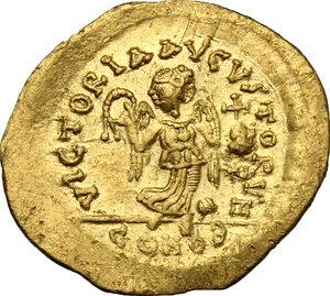 reverse: Anastasius I (491-518).. AV Tremissis, Constantinople mint