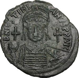 obverse: Justinian I (527-565).. AE Follis, Carthage mint