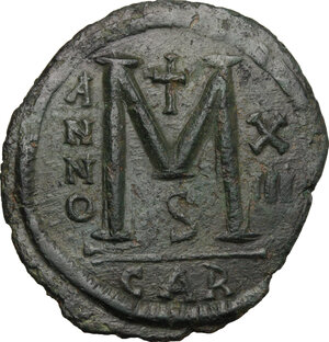 reverse: Justinian I (527-565).. AE Follis, Carthage mint