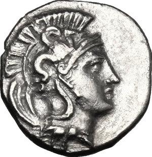 obverse: Southern Apulia, Tarentum. AR Diobol, c. 380-325 BC