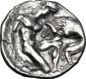 reverse: Southern Apulia, Tarentum. AR Diobol, c. 380-325 BC