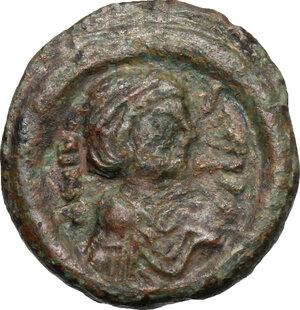 obverse: Justinian I (527-565).. AE 10 Nummi, Perugia (?) mint