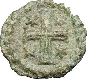reverse: Justinian I (527-565).. AE 10 Nummi, Ravenna mint