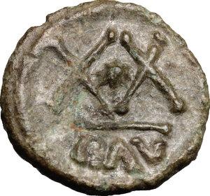 reverse: Phocas (602-610).. AE Half Follis, Ravenna mint, 608-609 AD