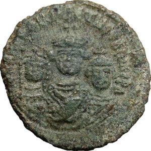 obverse: Heraclius (610-641), with Martina and Heraclius Constantine.. AE Follis, Ravenna mint
