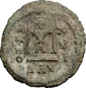 reverse: Heraclius (610-641), with Martina and Heraclius Constantine.. AE Follis, Ravenna mint
