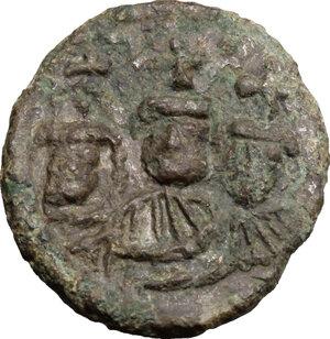 obverse: Heraclius (610-641), with Martina and Heraclius Constantine.. AE Half Follis, Ravenna mint