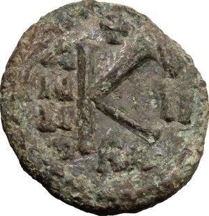 reverse: Heraclius (610-641), with Martina and Heraclius Constantine.. AE Half Follis, Ravenna mint
