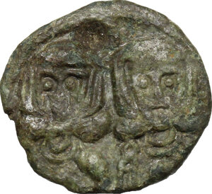 obverse: Leo III, the Isaurian (717-741) with Constantine V.. AE Follis, Ravenna mint, after 720 AD