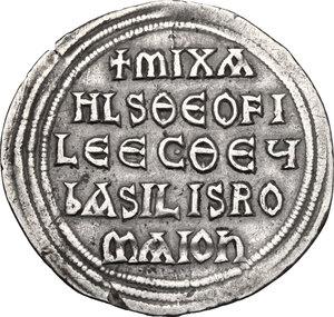 reverse: Michael II, the Amorian (820-829).. AR Miliaresion, Constaninople mint