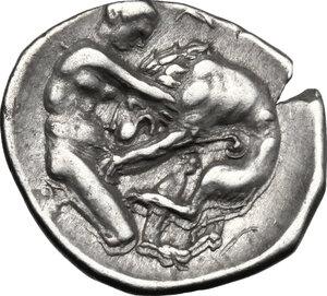 reverse: Southern Apulia, Tarentum. AR Diobol, c. 325-280