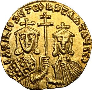 obverse: Basil I, the Macedonian (867-886).. AV Solidus, Constantinople mint