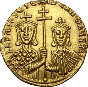 reverse: Basil I, the Macedonian (867-886).. AV Solidus, Constantinople mint