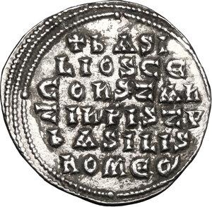 reverse: Basil I, the Macedonian (867-886).. AR Miliaresion, Constantinople mint