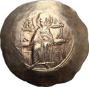 obverse: Isaac II Angelus (1185-1195).. EL Aspron Trachy. Constantinople mint