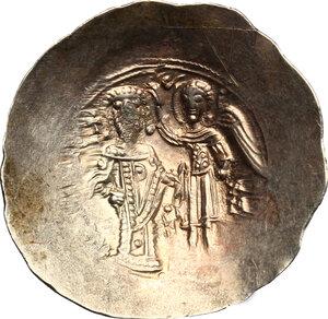 reverse: Isaac II Angelus (1185-1195).. EL Aspron Trachy. Constantinople mint