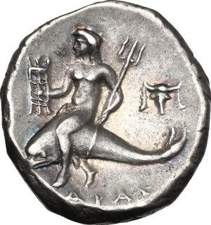 reverse: Southern Apulia, Tarentum. AR Nomos, 273-240 BC
