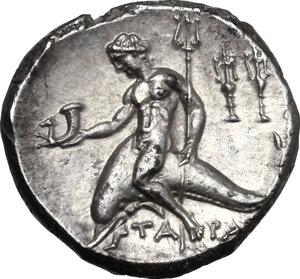 reverse: Southern Apulia, Tarentum. AR Nomos, c. 240-228 BC