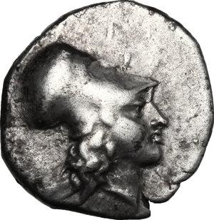 obverse: Southern Lucania, Metapontum.  AR Diobol, c. 325-275 BC.. AR Diobol, c. 325-275 BC