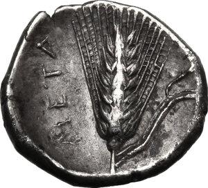 reverse: Southern Lucania, Metapontum.  AR Diobol, c. 325-275 BC.. AR Diobol, c. 325-275 BC